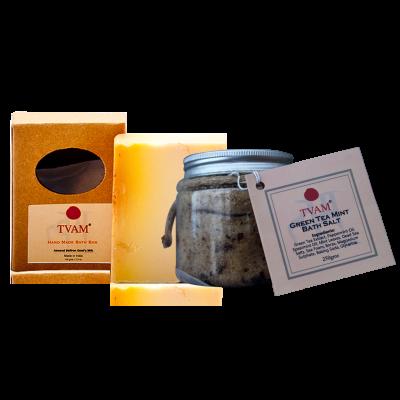 Bath Salt - Green Tea Mint + Soap - Almond, Saffron & Goats Milk COMBO