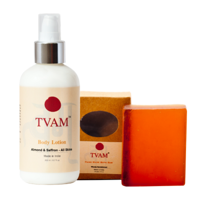 Body Lotion - Almond & Saffron - All Skins + Soap - Woody Sandalwood COMBO
