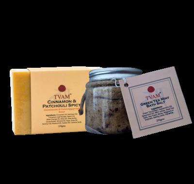 Bath Salt - Green Tea Mint + Soap - Cinnamon & Patchouli COMBO