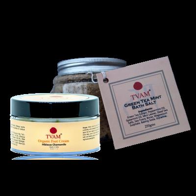 Bath Salt - Green Tea Mint + Foot Massage Cream COMBO