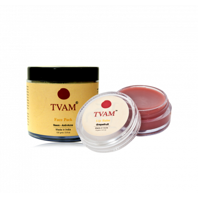 Face Pack - Neem Anti Acne + Lip Balm Grapefruit COMBO